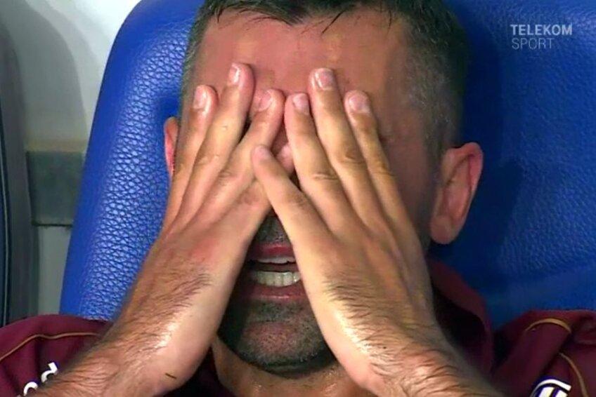 Emmanuel Culio a plâns în hohote după meciul cu Viitorul, pierdut cu 0-1 // Captură TV Telekom Sport
