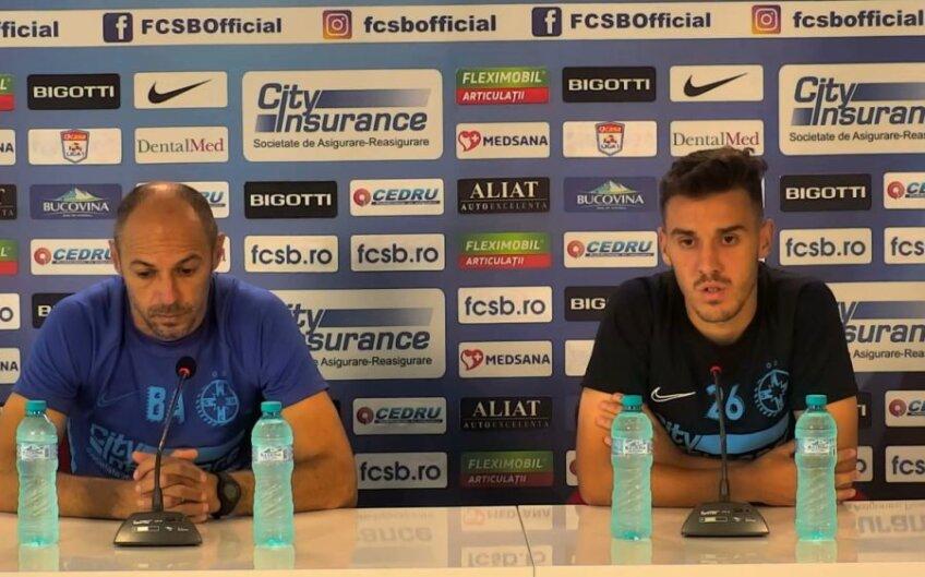 FOTO: Captură Facebook FCSB // Bogdan Andone și Răzvan Oaidă, la conferința de presă