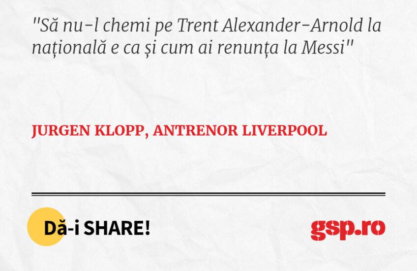 Să nu-l chemi pe Trent Alexander-Arnold la națională e ca și cum ai renunța la Messi