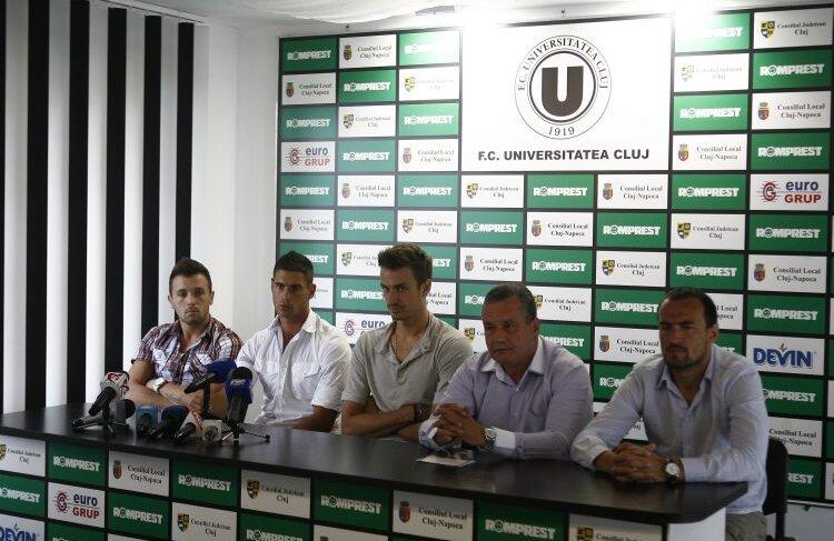 U Cluj şi-a prezentat astăzi achiziţiile: Nicola, Achim şi Szukala. Plus noul director sportiv, Felix Grigore