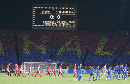 Fotografie de la cea mai mare performanță europeană a Stelei de după 1989: semifinala cu Middlesbrough, din primăvara lui 2006