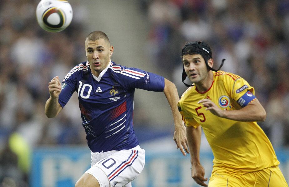 Benzem a aleargă după primul gol contra României. Dar poate fundașii noștri îl vor bloca și acum. foto Reuters