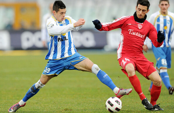 Adrian Stoian (stînga) a marcat cel de-al doilea gol pentru Bari