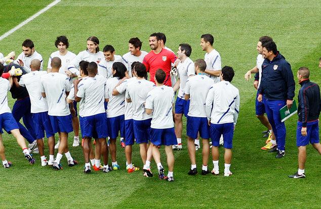 Jucătorii lui Atletico s-au jucat la antrenament, pălmuindu-i pe antrenori // Foto: Guliver/GettyImages