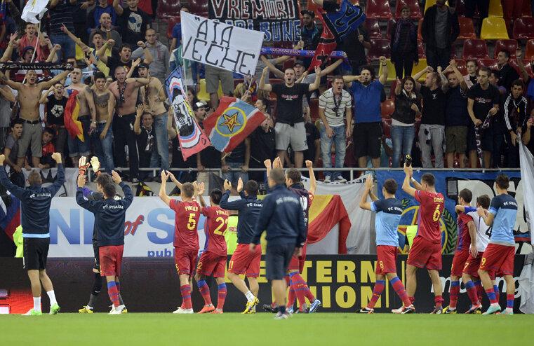 Jucătorii au sărbătorit alături de suporteri victoria cu Copenhaga.