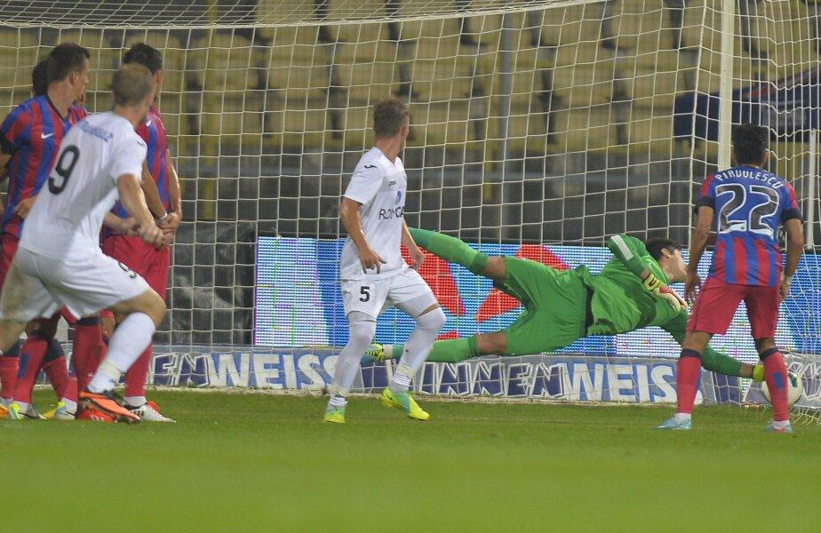 La golul doi al Mediașului, Tătărușanu și-a așezat prost zidul, a văzut tîrziu mingea, iar reflexul său a fost tardiv