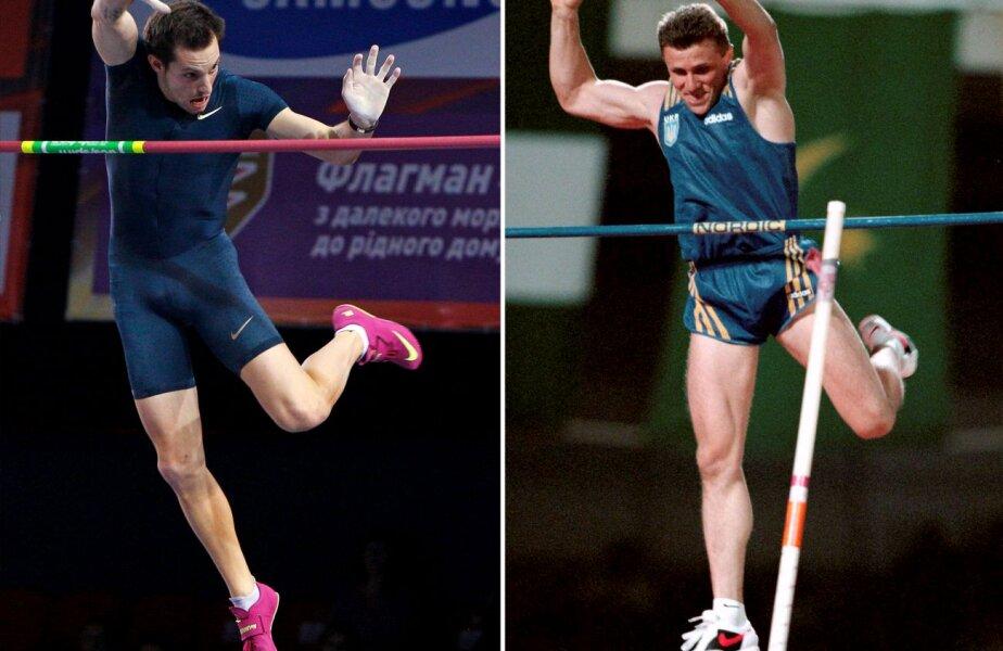 Renaud Lavillenie nu a atins deloc ştacheta cînd a doborît recordul mondial din prima încercare la 6,16 metri. În dreapta, Serghei Bubka în săritura de record mondial în sală