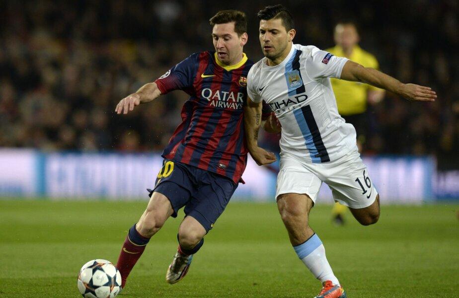 Messi, în duel cu posibilul viiitor coleg Kun Aguero, ar fi obținut un salariu mărit la 20-22 de milioane de euro anual // Foto: MediafaxFoto/AFP