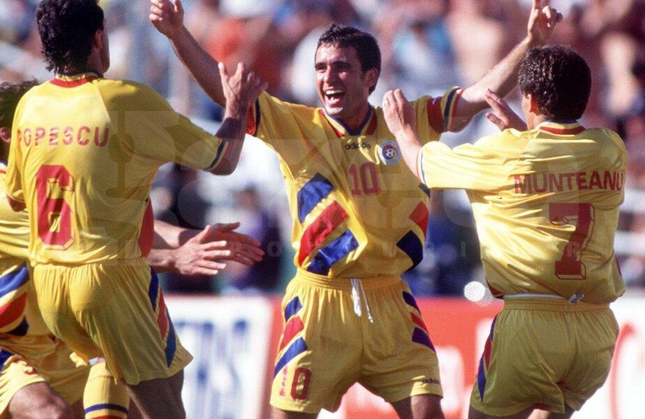 Hagi (dreapta), la celebrul 3-1 cu Columbia, alături de Mihali, Asprilla şi Adolfo Valencia // Foto: Guliver/GettyImages