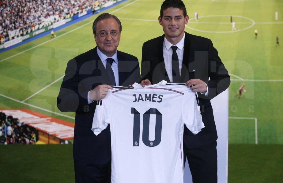 James Rodriguez a fost prezentat de președintele Realului, foto: reuters
