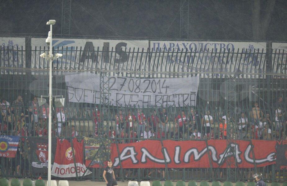 Banner-ul afişat de ultraşii lui ŢSKA Sofia sîmbătă seara, la derby-ul de la Razgrad, cu Ludogoreţ // Foto: Raed Krishan
