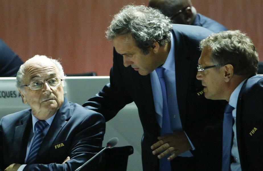 Tripleta sub acuzație: Blatter, Platini și Valcke. FIFA și UEFA împreună în afaceri necurate // Foto: Reuters
