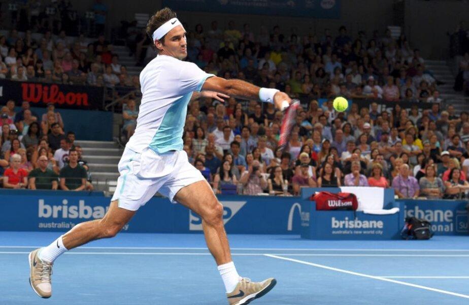 Roger Federer în meciul cu Grigor Dimitrov, la Brisbane, foto: reuters