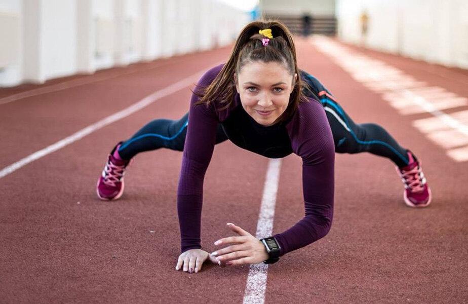 Atleta, pozând înaintea unui antrenament