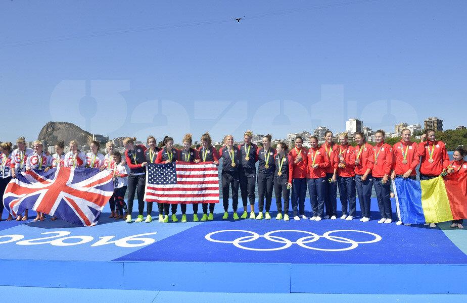 Podiumul din proba de 8 plus 1: SUA pe primul loc, Marea Britanie pe doi și România pe trei // FOTO Cristi Preda (Rio de Janeiro)