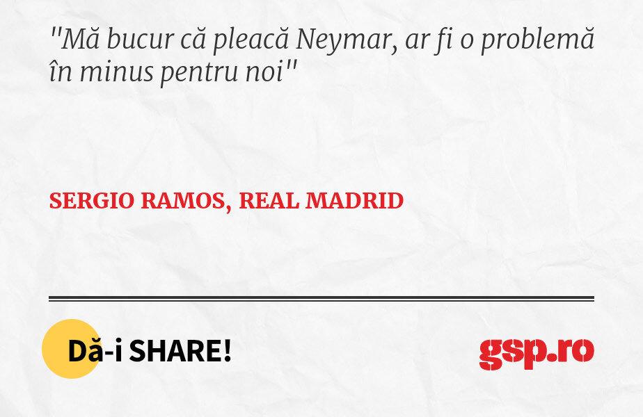 Mă bucur că pleacă Neymar, ar fi o problemă în minus pentru noi
