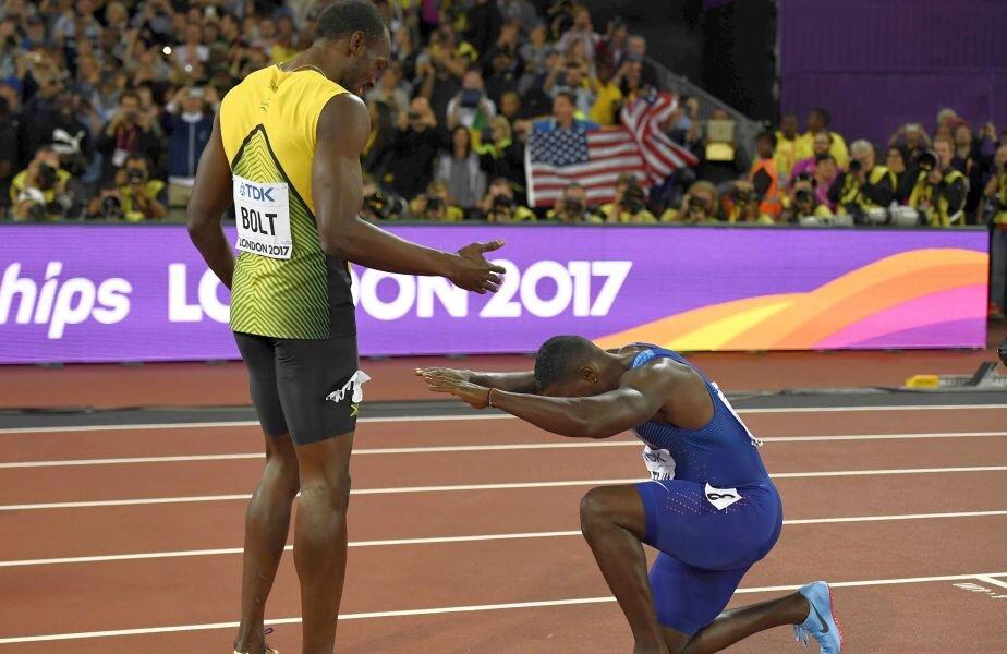 Gatlin câștigă, dar face o plecăciune în fața maestrului. foto: Reuters