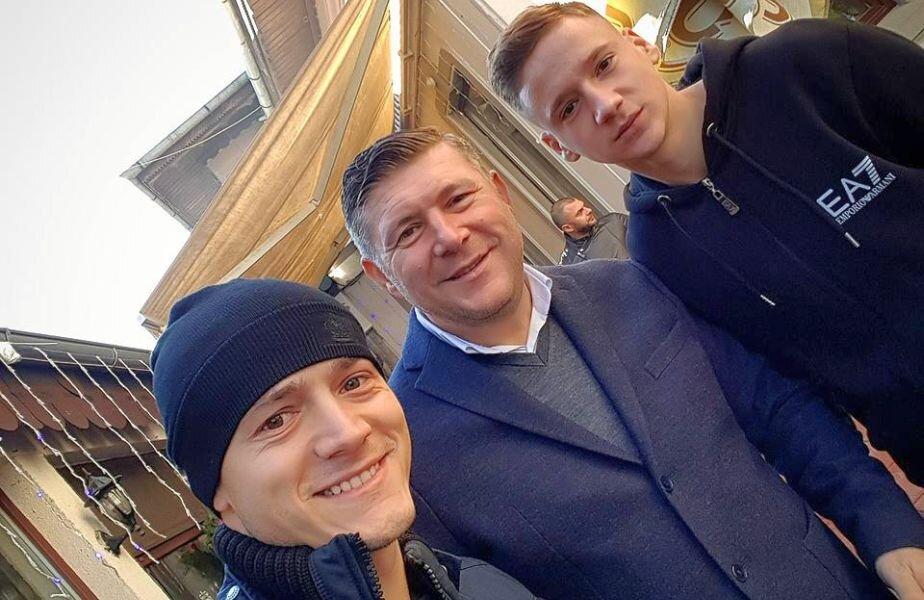 Alin Demici (dreapta) împreună cu tatăl său, Ștefan, și cu Gabi Torje, unul dintre ex-dinamoviștii apropiați ai antrenorului de rugby din