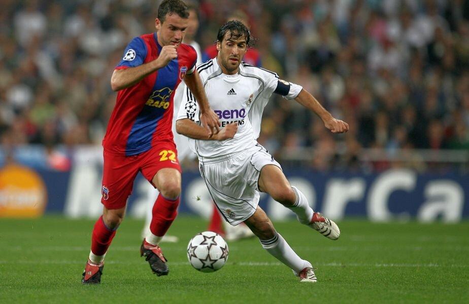 Paraschiv versus Raul sau duelul căpitanilor într-un meci de gală al Stelei în C1, disputa cu Real din grupele anului 2006, 1-4 pe Ghencea