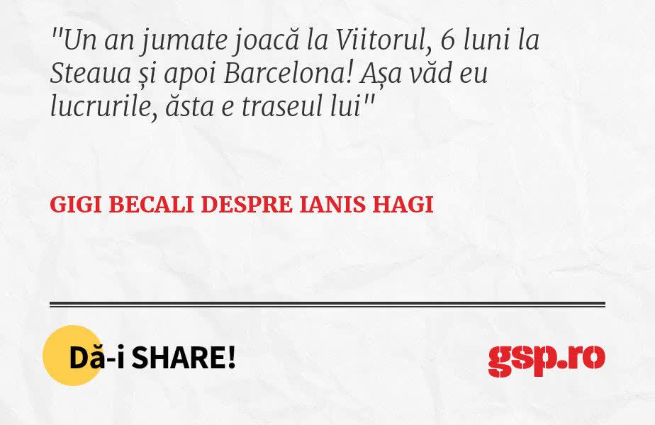 Un an jumate joacă la Viitorul, 6 luni la Steaua și apoi Barcelona! Așa văd eu lucrurile, ăsta e traseul lui
