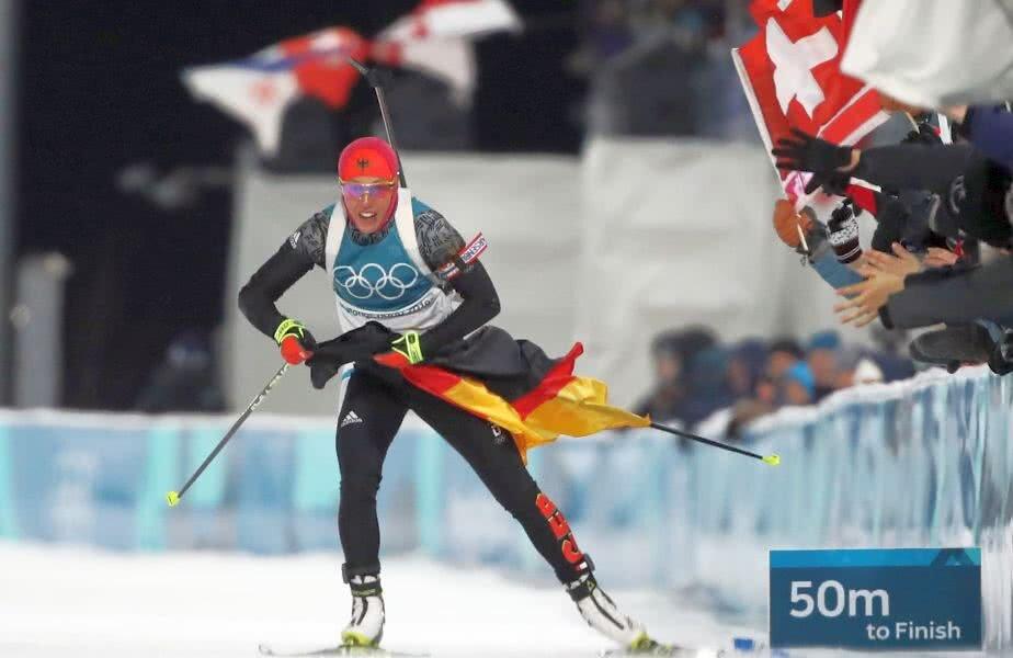De 7 ori campioană mondială, Laura Dahlmaier și-a realizat visul olimpic în Coreea de Sud. Nemțoaica e și triplă campioană olimpică de tineret în 2011 / FOTO: Guliver/Getty Images