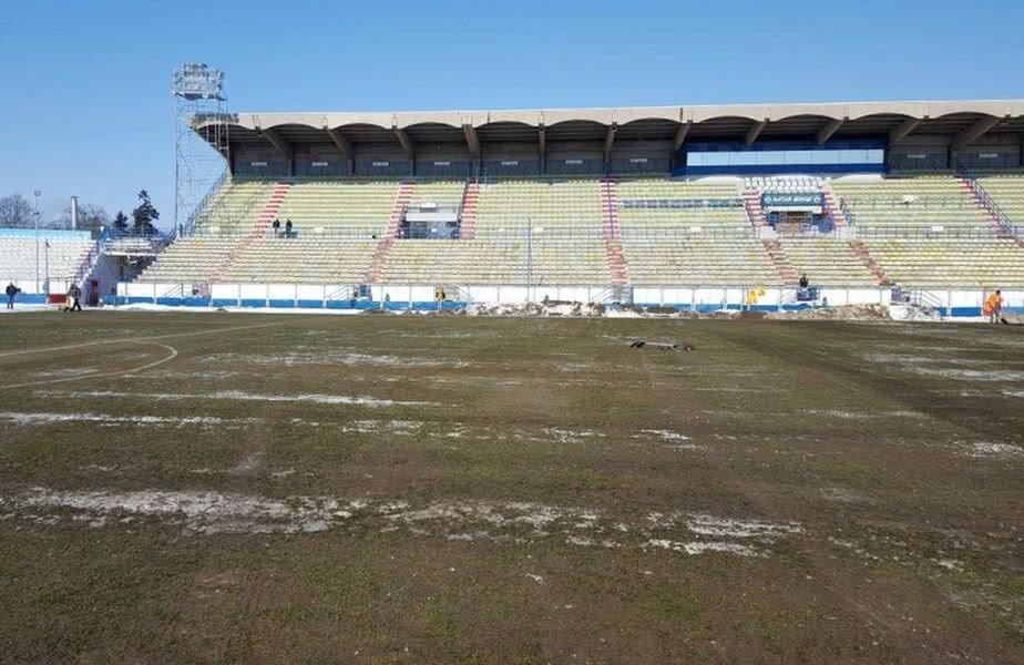 Așa arată Stadionul Municipal din Sibiu la ora 10:00 // FOTO: Facebook