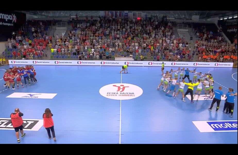 Slovenia și Cehia, sărbătorind calificarea la EURO 2018