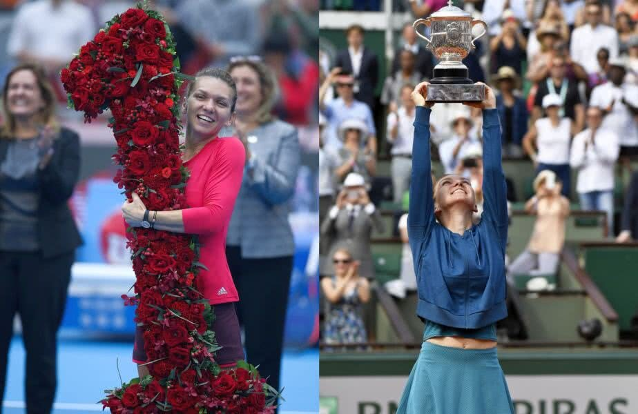 IMAGINILE TRIUMFULUI. Simona Halep și două ipostaze-cheie ale carierei ei, ambele acompaniate de un zâmbet larg și de un trofeu. În stânga, octombrie 2017, când a izbutit să urce pe prima treaptă a clasamentului mondial, în timpul turneului de la Beijing. În dreapta, imagine de sâmbăta trecută, ridicând deasupra capului trofeul de la Roland Garros, întâiul de Grand Slam al carierei (foto: Guliver/GettyImages, Raed Krishan)