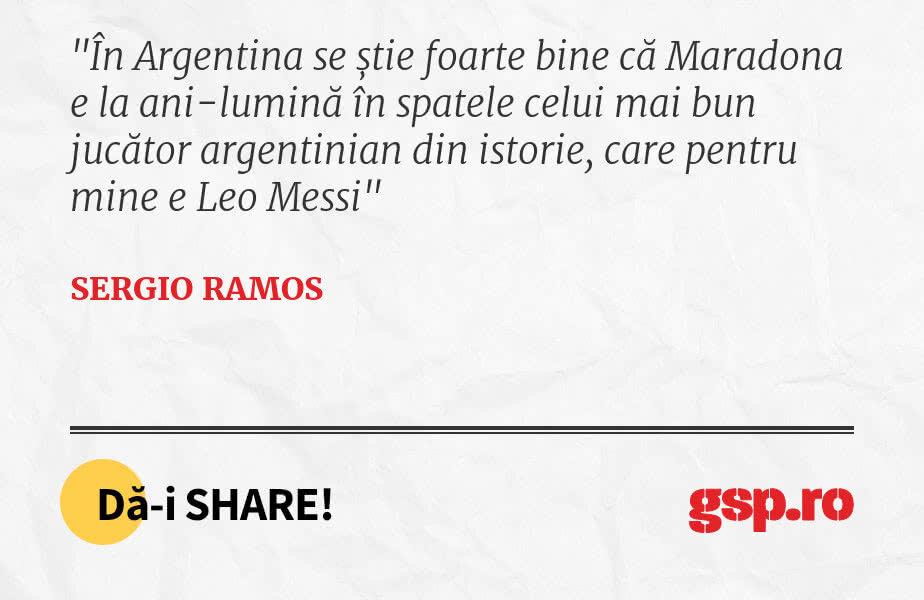 În Argentina se știe foarte bine că Maradona e la ani-lumină în spatele celui mai bun jucător argentinian din istorie, care pentru mine e Leo Messi