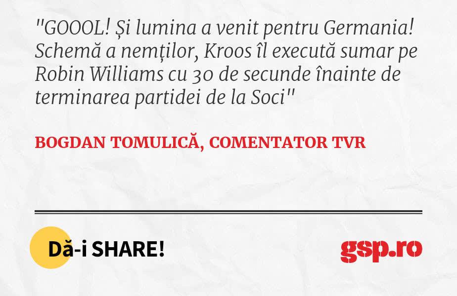 GOOOL! Și lumina a venit pentru Germania! Schemă a nemților, Kroos îl execută sumar pe Robin Williams cu 30 de secunde înainte de terminarea partidei de la Soci