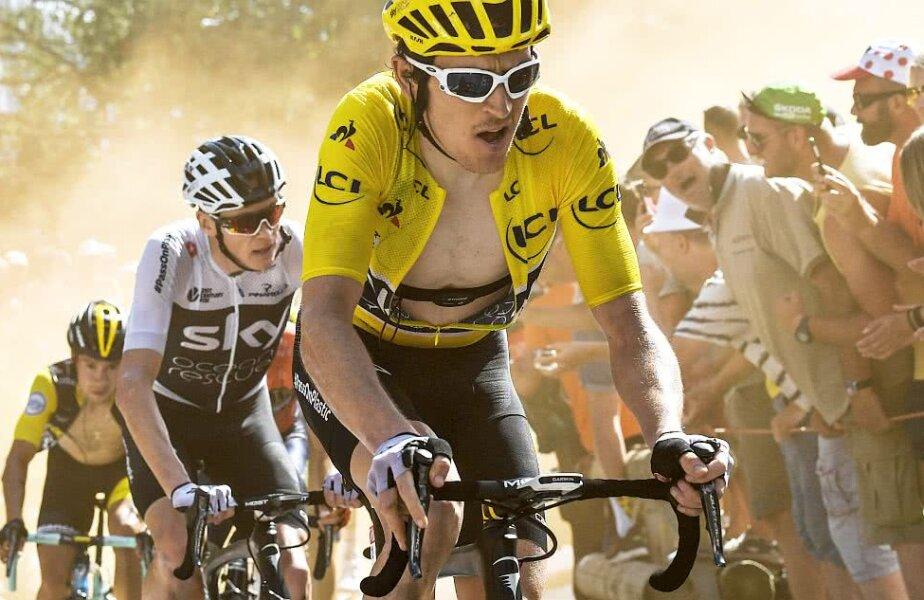 Geraint Thomas, în galben, și-a asumat de vreo câteva ori să ducă trenă în fața lui Froome, foto: reuters