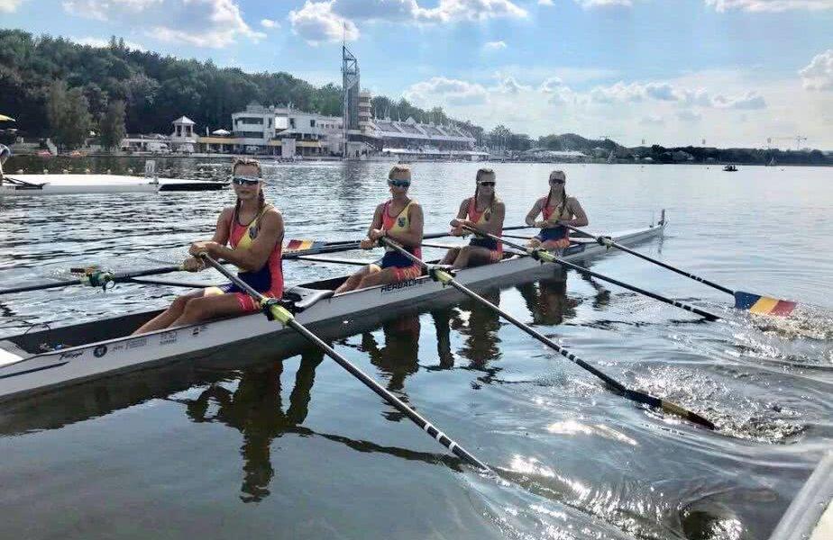 O barcă tânără și valoroasă: Simona Radiș (19 ani), Nicoleta Pașcanu (21), Georgiana Vasile (22) și Elena Logofătu (21). FOTO: FR Canotaj