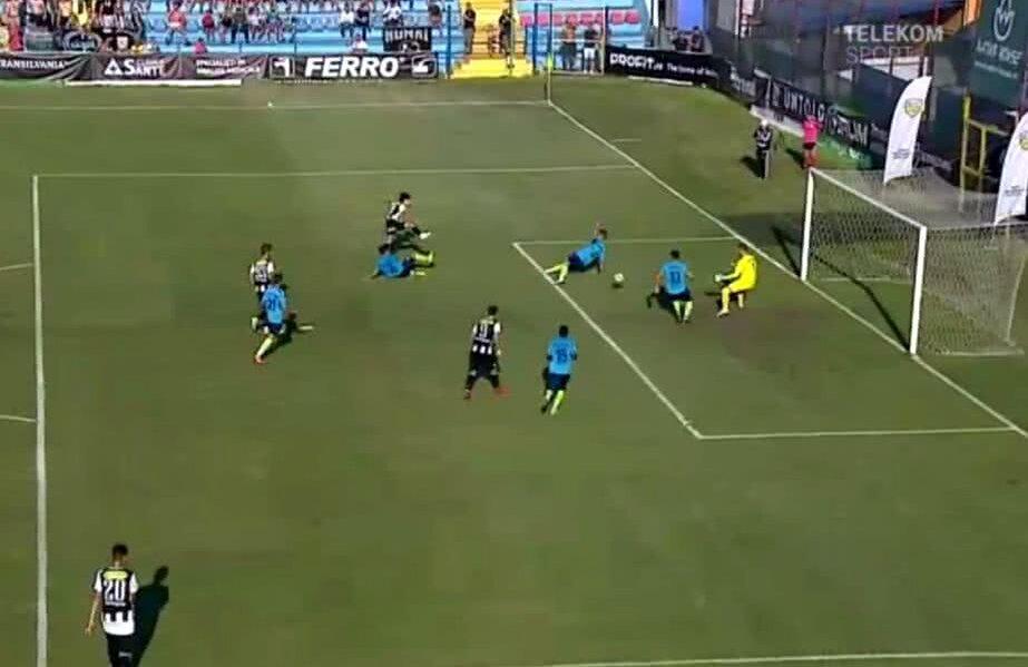 Momentul în care Florescu deschide scorul. Captură TV Telekom Sport