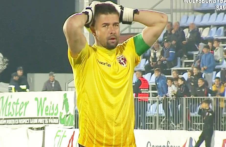 Reacția portarului celor de la FC Voluntari la golul lui Căpățână FOTO: Captură @TV Telekom Sport