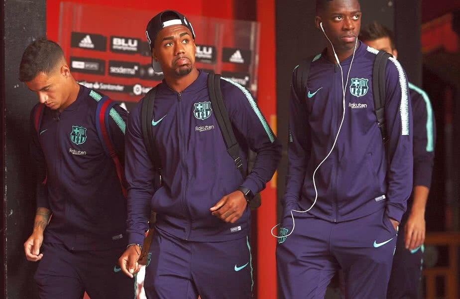 Malcom, în mijloc, lângă Coutinho și Dembele // FOTO: Guliver/GettyImages