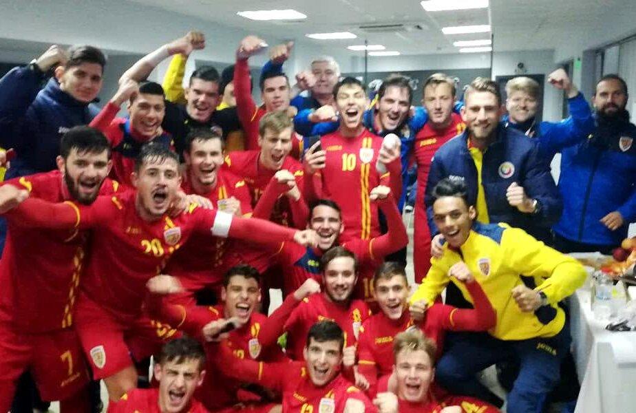 Bucuria generației U19 după 8-0 cu Gibraltar