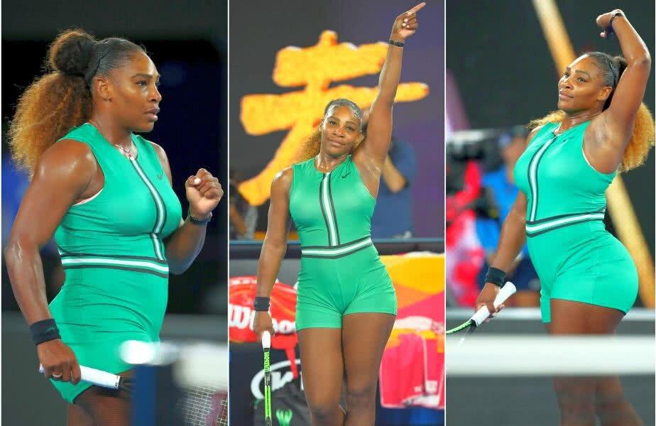 """""""SERENA, NU ȚI-E JENĂ?"""". Fanii au taxat-o aspru pe Serena Williams, pe rețelele de socializare, pentru echipamentul purtat în meciul de azi de la Australian Open. Fostul lider WTA și-a văzut de treabă și a eliminat-o la pas pe Bouchard. Foto: Guliver/GettyImages"""