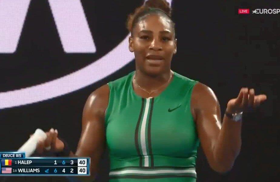 Serena Williams nervoasă în meciul cu Simona Halep // Captură Eurosport