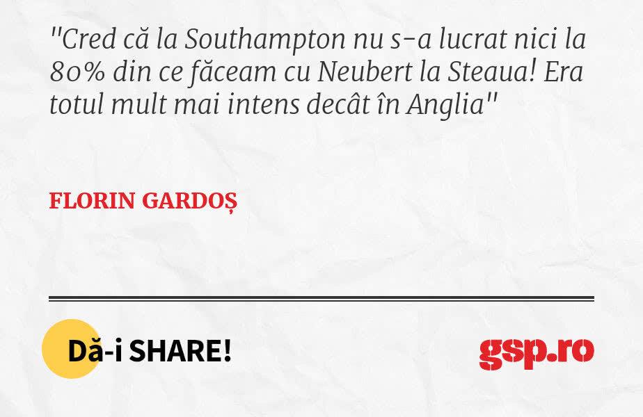 Cred că la Southampton nu s-a lucrat nici la 80% din ce făceam cu Neubert la Steaua! Era totul mult mai intens decât în Anglia