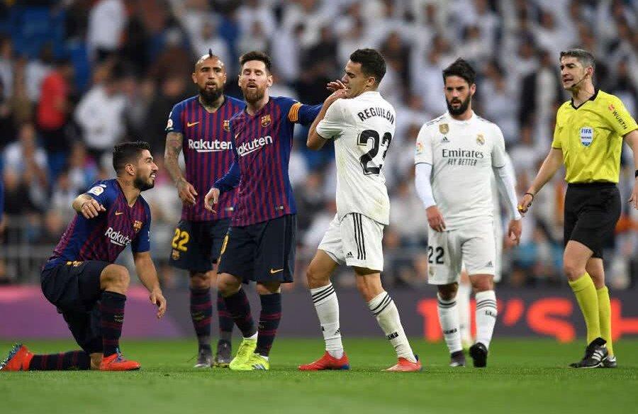 Reguilon, plin de tupeu în fața lui Messi, Suarez și Vidal, în derby-ul Real - Barcelona FOTO: Guliver/GettyImages