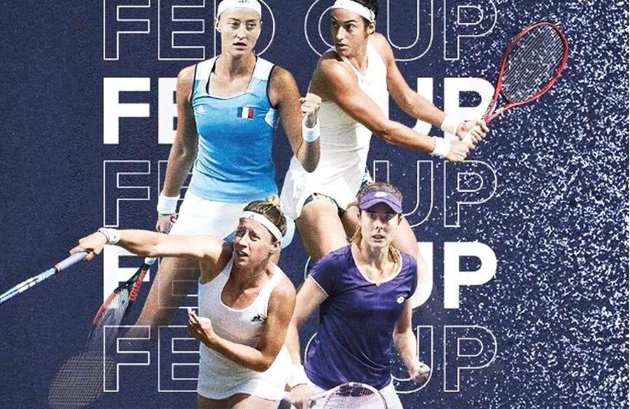 Caroline Garcia (21 WTA), Alizet Cornet (54 WTA), Kristina Mladenovic (63 WTA la simplu, 3 WTA la dublu) și Pauline Parmentier (53 WTA) fac parte din echipa de Fed Cup a Franței // Sursă foto: Twitter @FFTennis