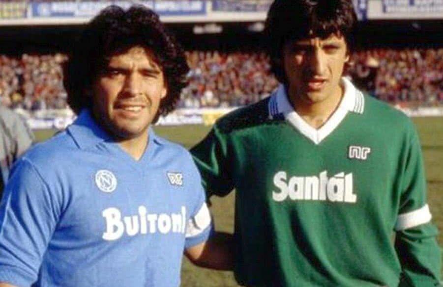 Ramon Diaz alături de Diego Maradona. În anii '80 Napoli și Avellino reprezentau regiunea Campania în Serie A