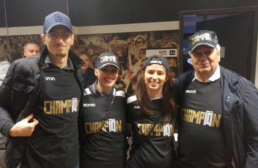 Matei (fiul lui Răzvan), Ana (soția), Marilu (fiica) și Mircea Lucescu (tatăl) aseară la Salonic