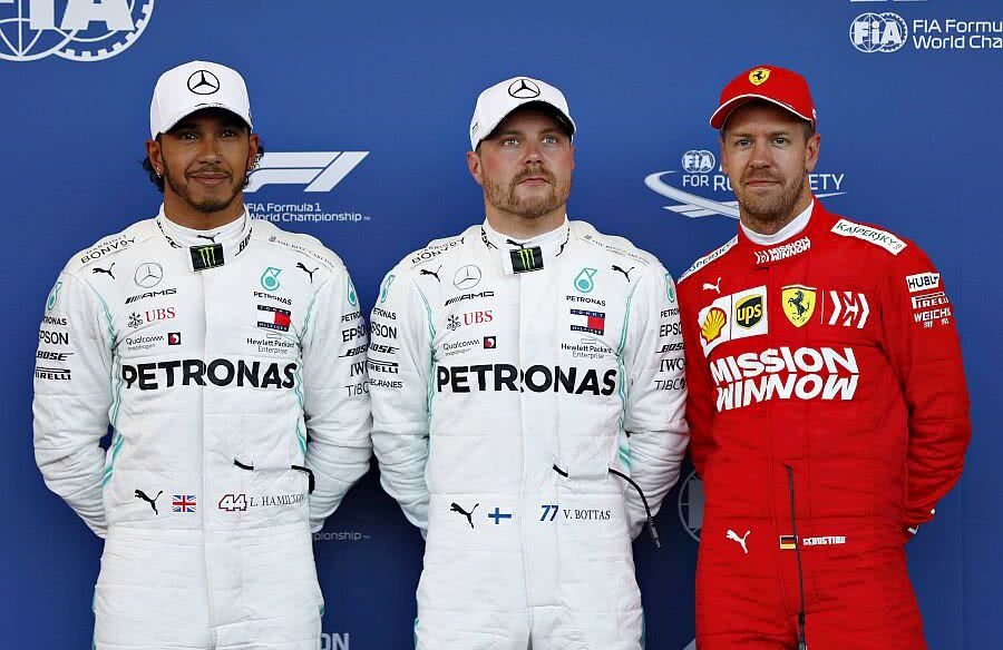 Lewis Hamilton, Valtteri Bottas și Sebastian Vettel // FOTO: Guliver/GettyImages
