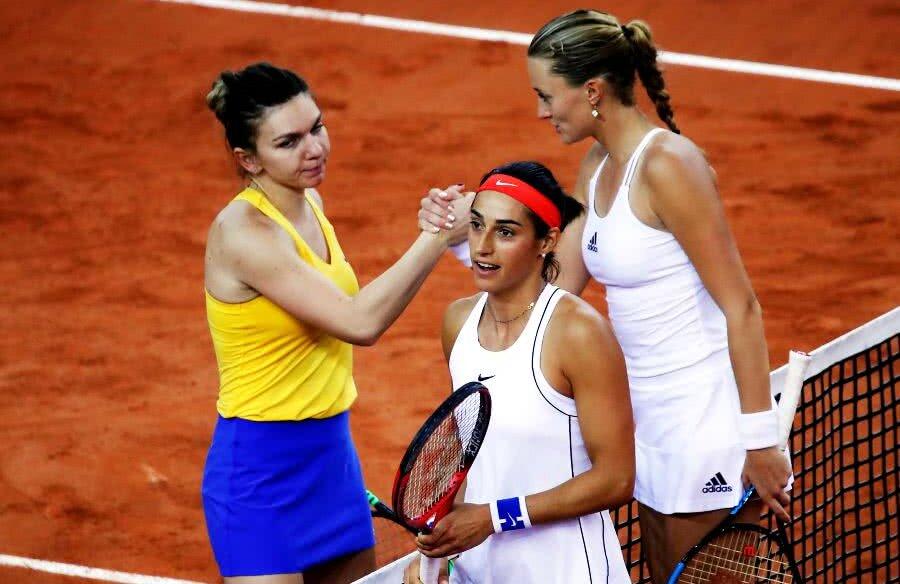 Confruntarea din semifinala Fed Cup dintre Franța și România a fost câștigată cu 3-2 de franțuzoaice, punctul decisiv fiind adus de Caroline Garcia și Kristina Mladenovic // Foto: Reuters