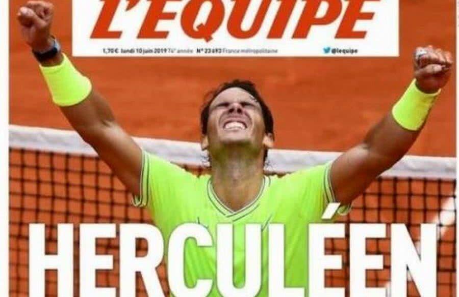 Prima pagină din L'Equipe, după cel de-al 12-lea titlu obținut de Nadal la Paris