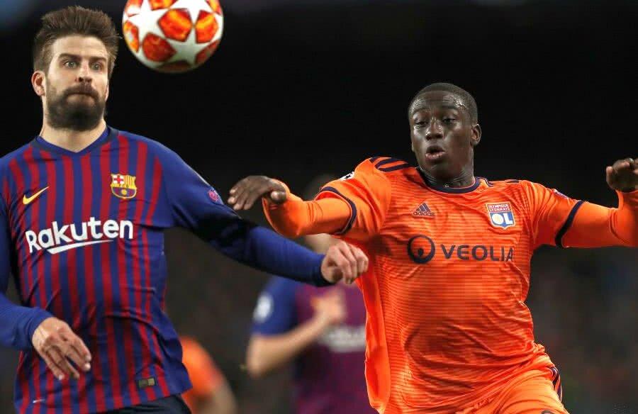 Ferland Mendy, în dreapta, se va duela din nou cu Pique, pe care l-a înfruntat, alături de Lyon,  și în sferturile de finală din Champions League // FOTO: Guliver/Getty Images