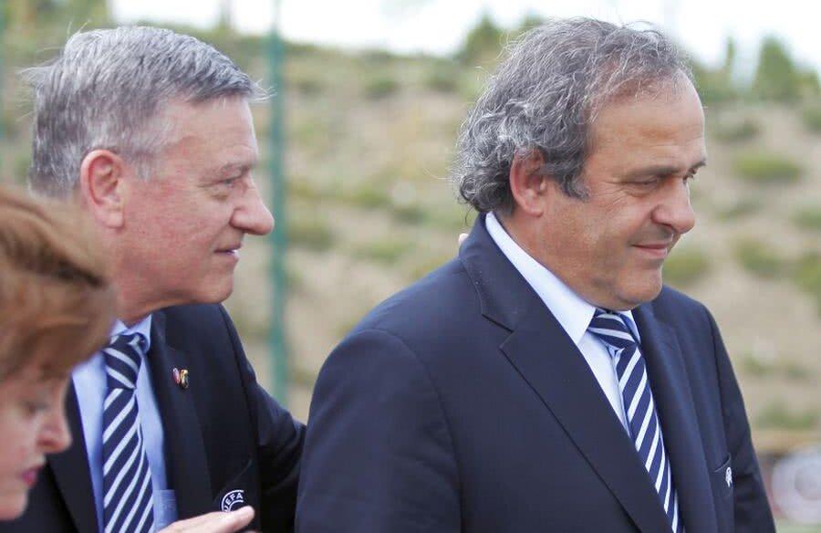 Mircea Sandu și Michel Platini