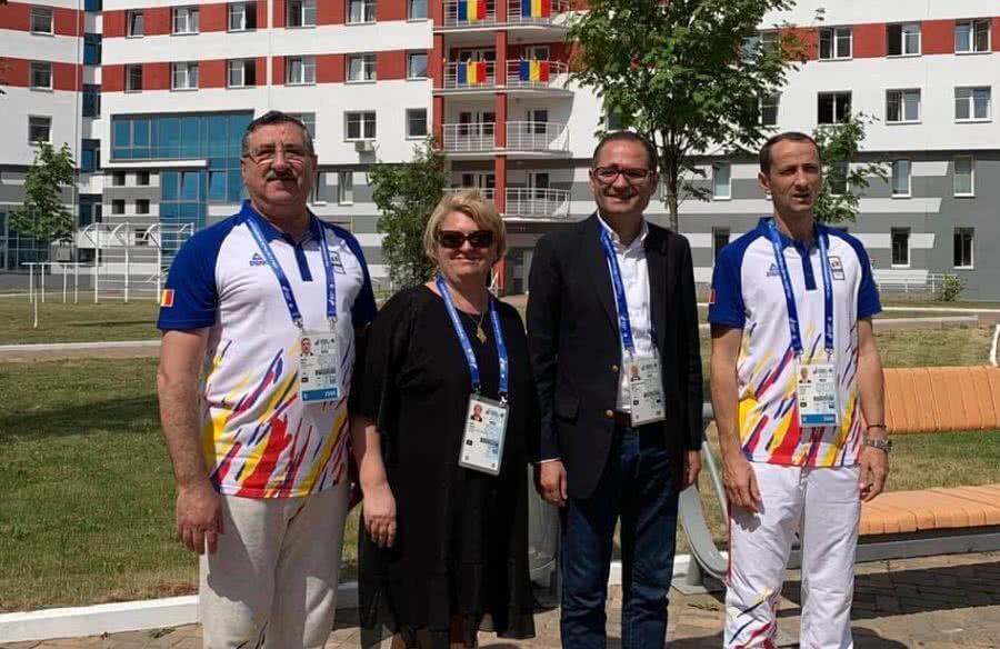 FOTO: Facebook MTS // Doina Gradea, președintele TVR, alături de George Boroi, Bogdan Matei, minstrul Tineretului și Sportului și Mihai Covaliu, președintele COSR, în satul olimpic de la Minsk.