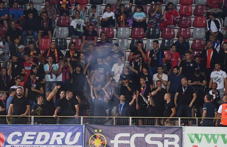 Ultrașii FCSB-ului prezenți la meciul cu Milsami Orhei // FOTO: Raed Krishan